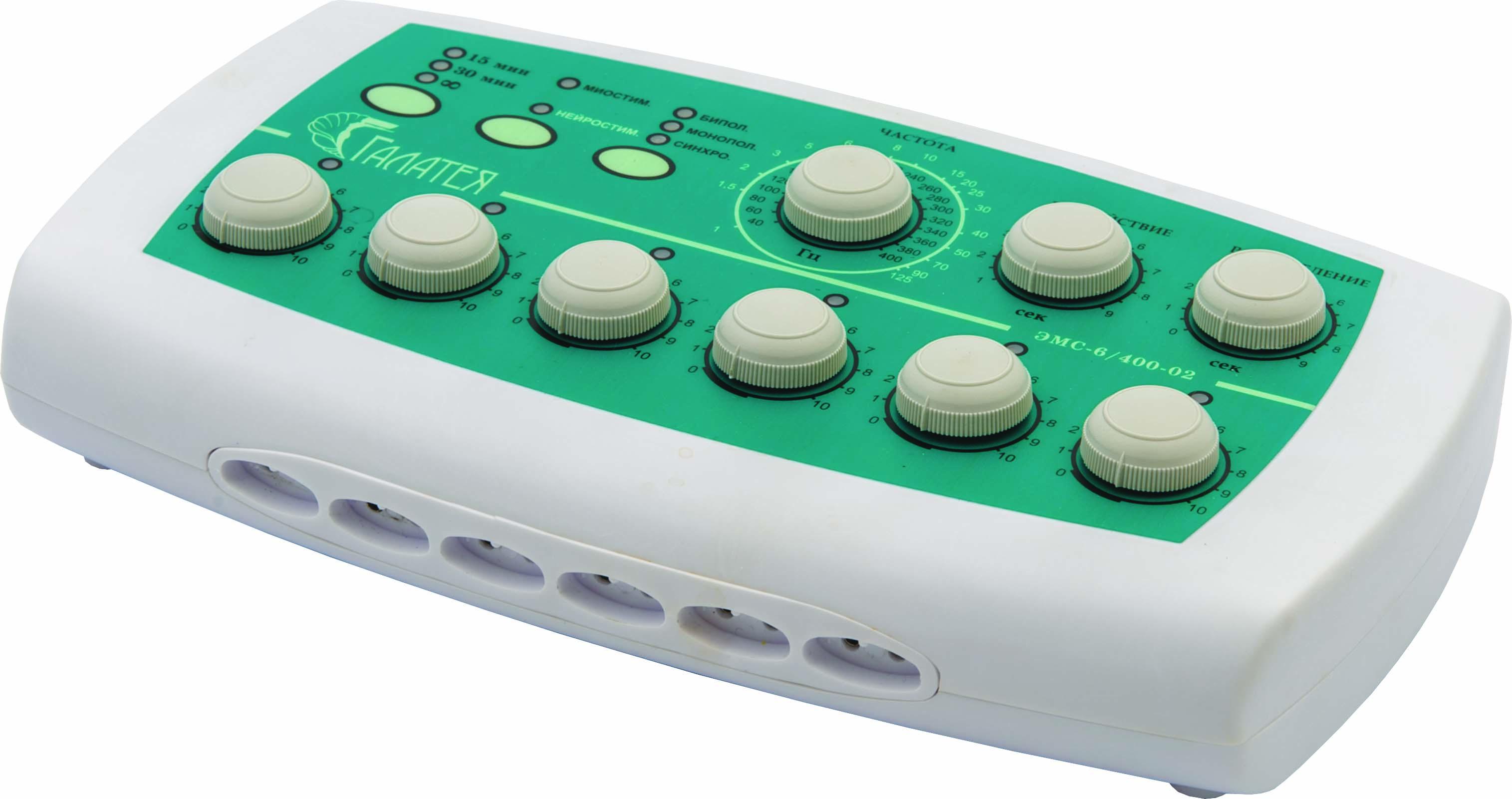 Электромиостимулятор шестиканальный с регулируемой частотой импульсов ЭМС 6/400-02 «Галатея»